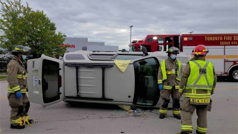 Etobicoke: Firetrucks responding code 3 to MVC with overturned car...