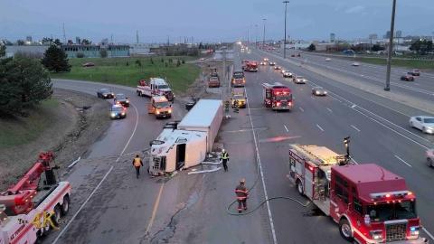 Brampton: Tractor trailer rollover with hazardous materials 4-19-2021