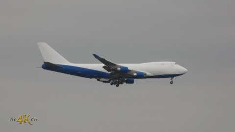 Dubai Royal Air Wing paramilitary gov't airplane B747-400F landing at...