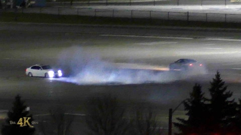 Toronto: Car drift and burnouts at Woodbine Casino parking lot...