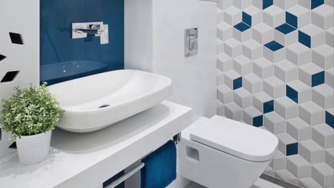 Beautiful bathroom floor and wall tiles design contrasting and...