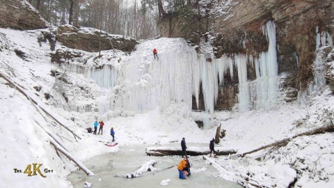 The beautiful icy winter waterfalls of Ontario's Niagara Escarpment