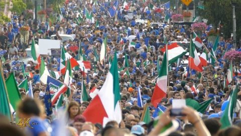 Canada: Giant crowd cheers for Italy UEFA victory in Woodbridge...