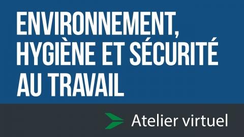 Environnement, hygiène et sécurité au travail - Atelier...