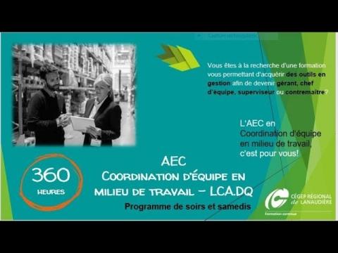AEC | Coordination d'équipe en milieu de travail