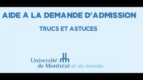Aide à la demande d'admission de l'Université de Montréal