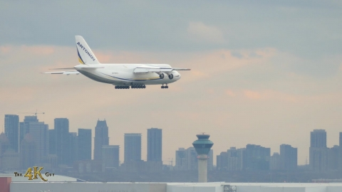 Toronto: Antonov An-124 aircraft landing and taxiing at YYZ 11-16-2020