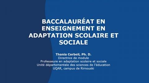 Baccalauréat en enseignement en adaptation scolaire et sociale