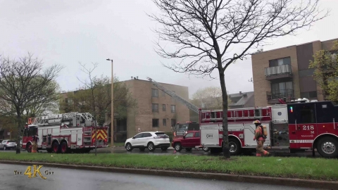 Montréal: Working apartment fire at Perras Boulevard residence...