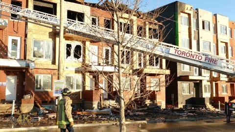 Toronto: Aftermath of 3.5 alarm fire at Downsview townhouses 12-5-2020