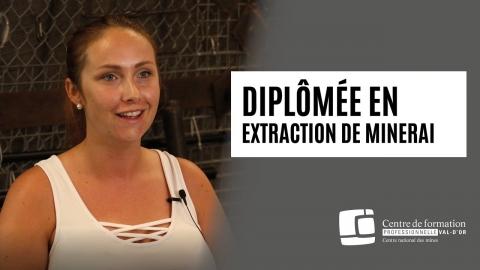 Élève diplômée en extraction de minerai : Laurie Samson