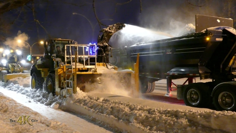 Snowplow video 4 - Cat 938K & John Deere 624J snowblower loaders...