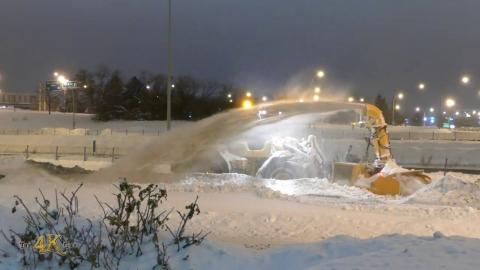 Snowplow video 5 - Volvo blower & grader from Roxboro clearing...