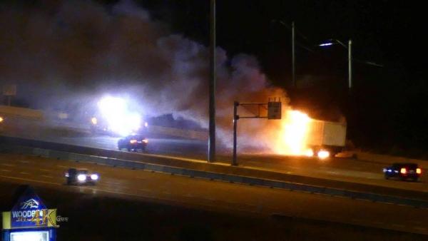 Toronto: Tractor trailer ablaze on Highway 427 near YYZ 10-13-2020