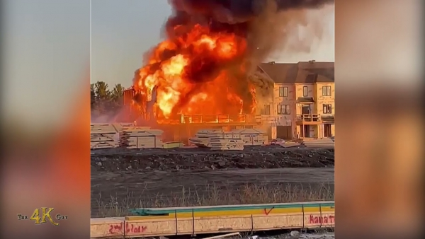 Ottawa: Pre-arrival viewer video of major Kanata townhouse complex blaze 10-6-2021