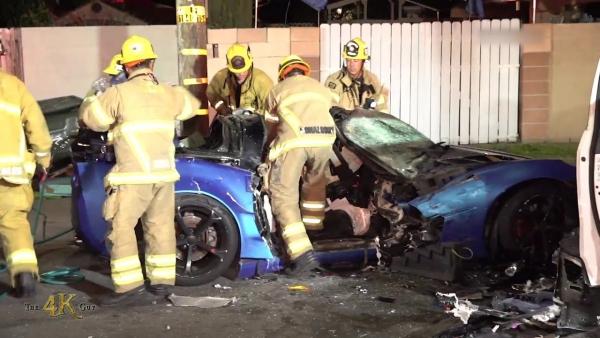 California: Corvette multi victim fatal crash with extrication 2-15-2021