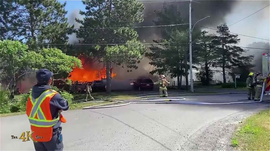 St-Liguori: Witness video of fully involved rural house on fire 6-17-2021